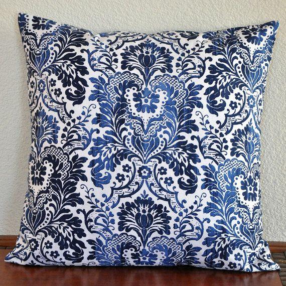 Blue Navy White Decorative Pillow Damask By Dear Stella 20 X Etsy Decorative Pillows White Decorative Pillows Pillows