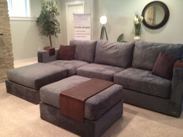 Luv Sac Sectional Color Combination Grey W Brown Accessories