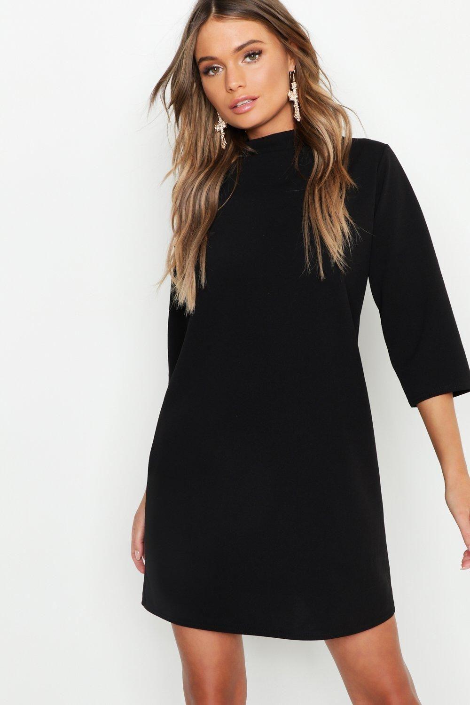 High Neck 3 4 Sleeve Shift Dress Boohoo Shift Dress Shift Dress Black Bodycon Fashion [ 1500 x 1000 Pixel ]