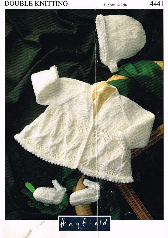 baby matinee coat and bonnet set vintage knitting pattern PDF ...