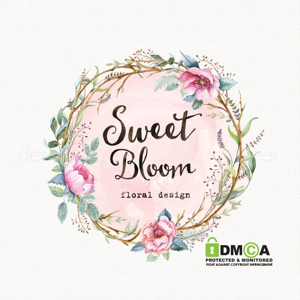 watercolor flower logo with frame premade by