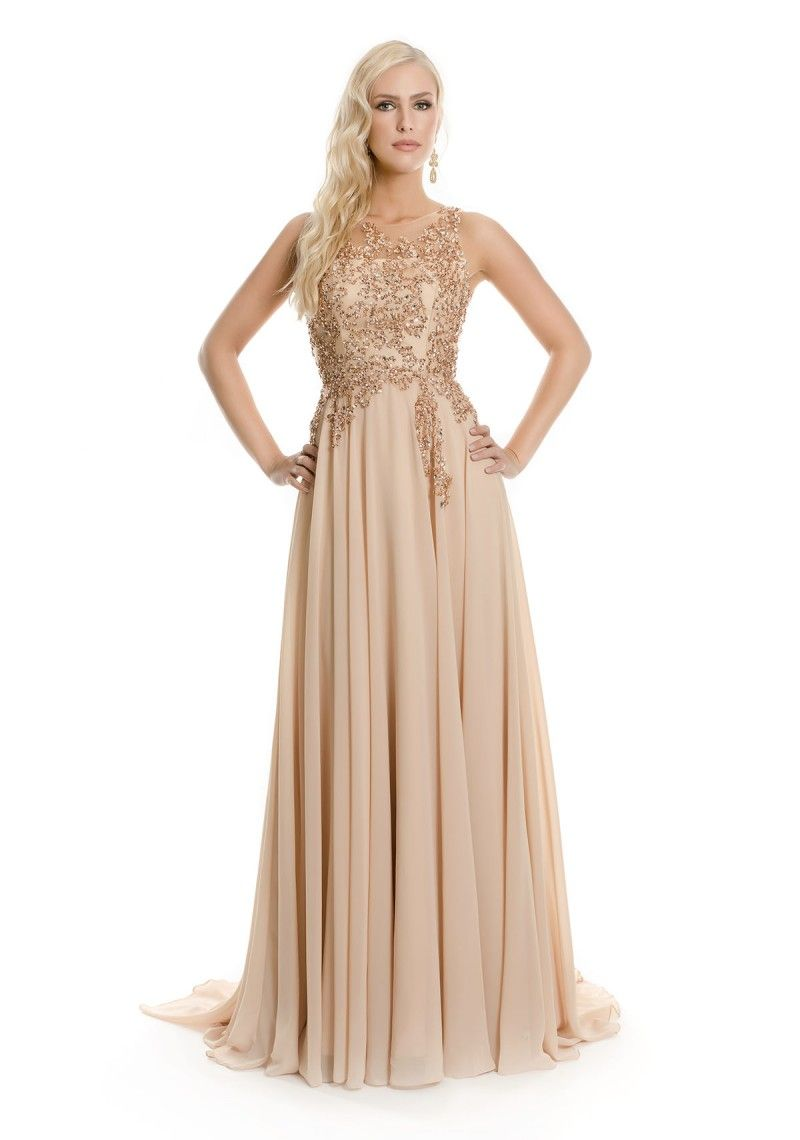 Chiffon-Abendkleid in Beige  Plus size prom dresses, Bride dress
