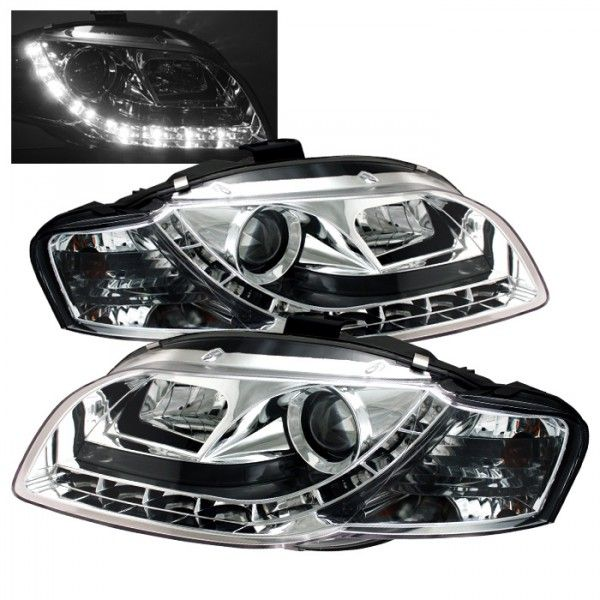 2008 Audi A4 Chrome Clear Drl Projector Headlights Spyder Auto Pair Audi A4 Projector Headlights Audi
