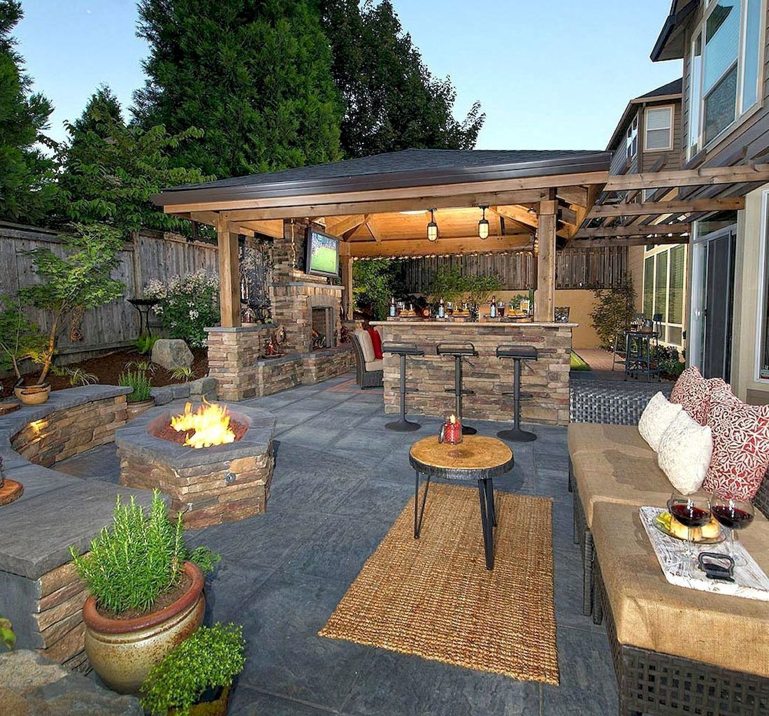 Nice 54 Fabulous Backyard Patio Landscaping Ideas Https Centeroom Co 54 Fabulous Backyard Patio Landscaping Backyard Patio Backyard Outdoor Fireplace Designs