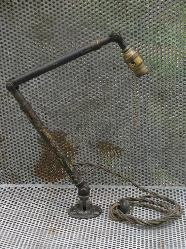 Early Industrial Adjustable Work Light W/brass Fat Boy Socket 1910 Patent
