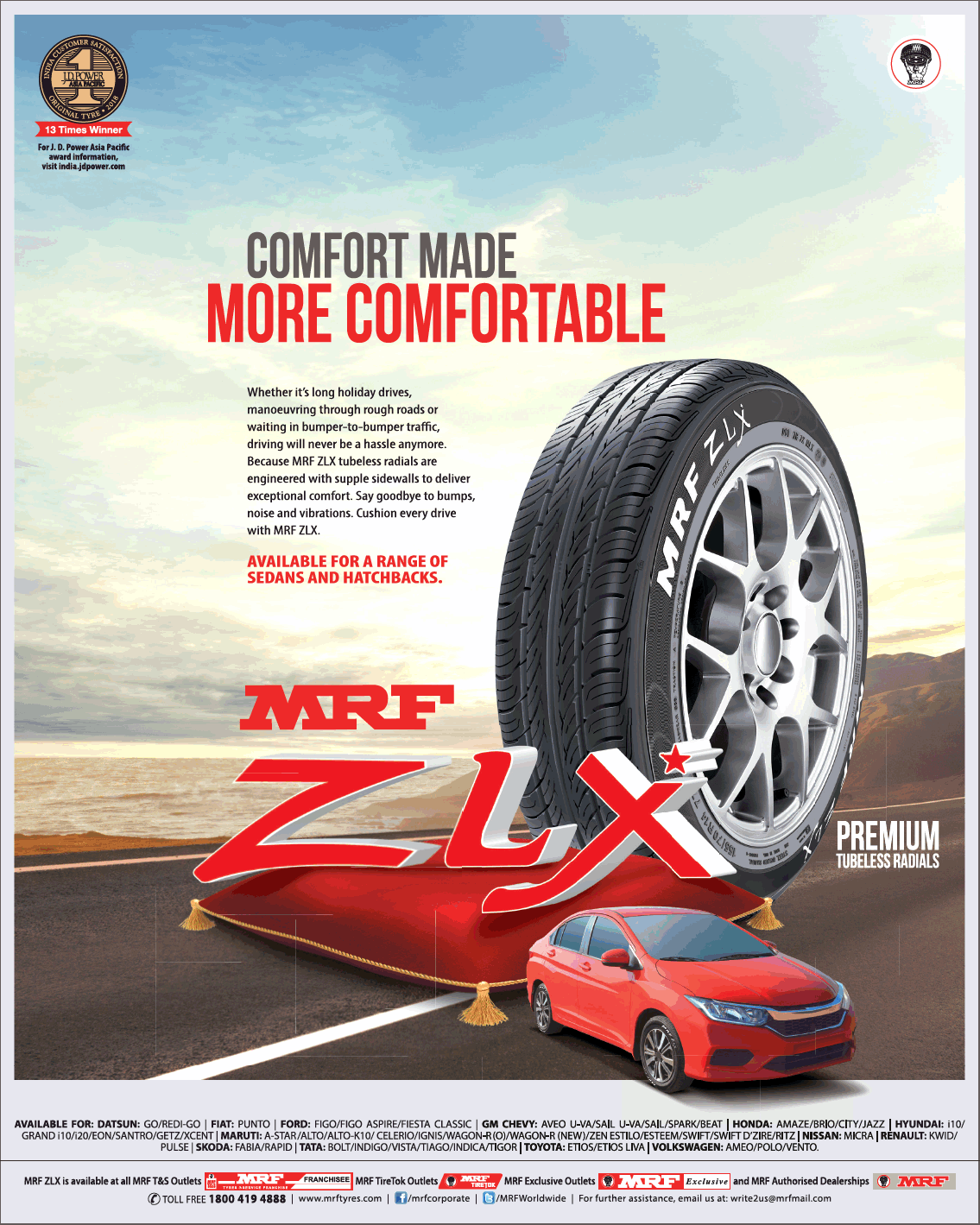 Mrf Zlx Comfort More Comfortable Ad Car Advertising Ads Comfortable