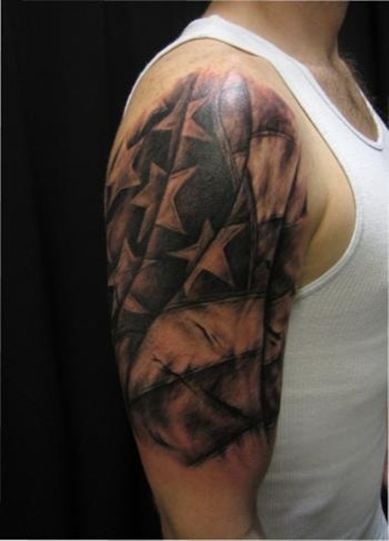 e09824861422f 55 Heroic American Flag Tattoos | Jake tattoo | Rebel flag tattoos ...