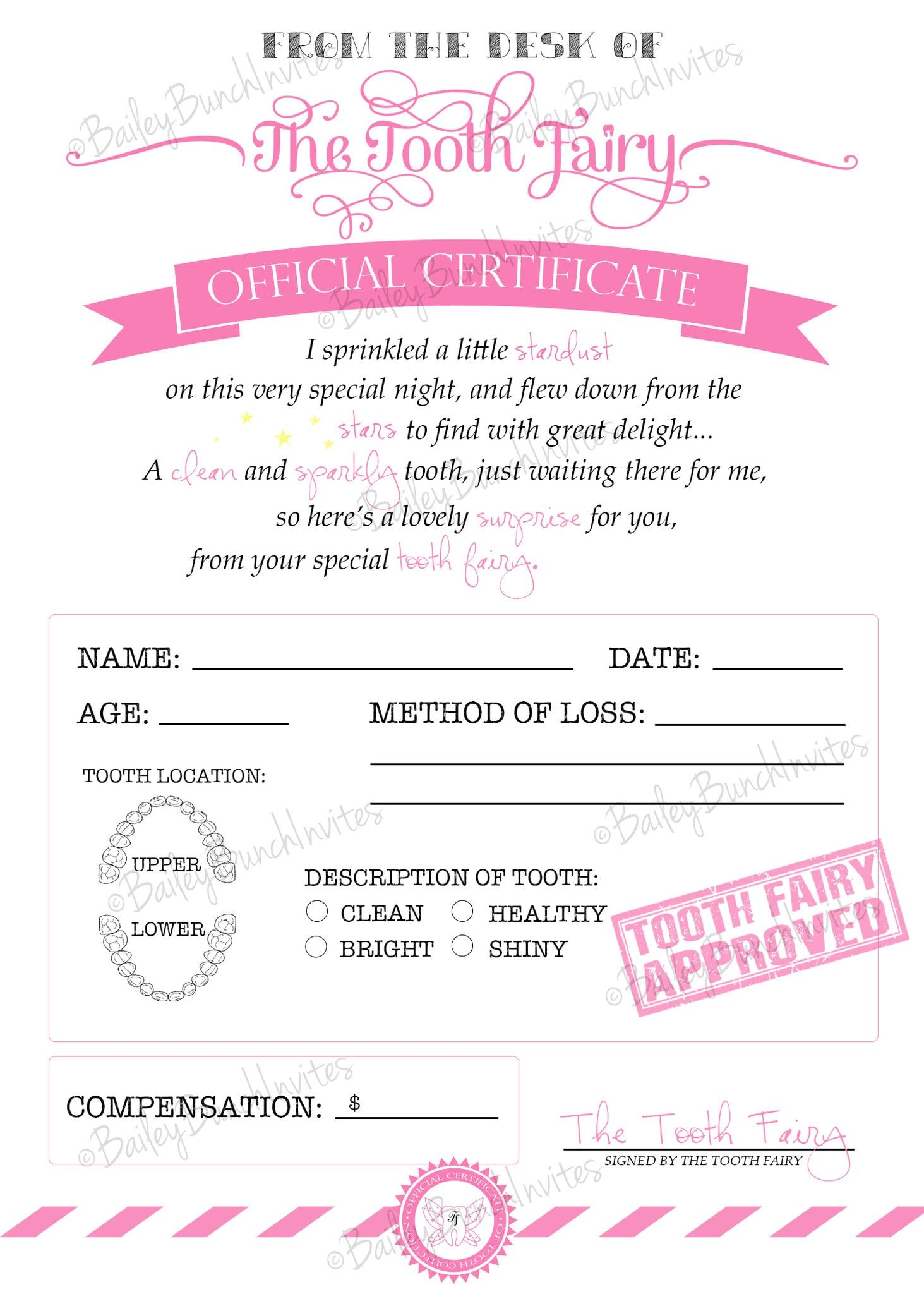 Tooth fairy certificate pink instant download for Free printable tooth fairy certificate template