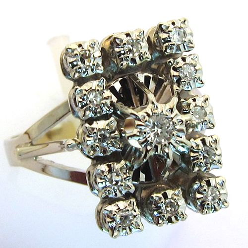 bague or blanc diamant vintage