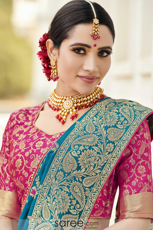 Pink Pentagon Blouse Design Party Wear Sarees Saree Designs Wedding Saree Blouse Designs