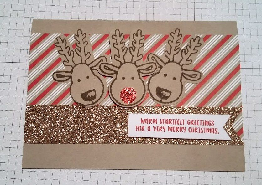 Stampin' Up! Cookie Cutter Punch, Rudolph, Candy Cane Lane DSP, Crumb Cake, Glimmer card.  Created by Pauline Barnfather, I Create Craft