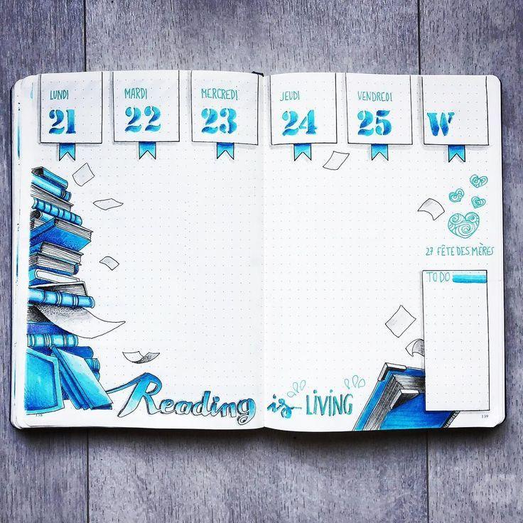 17 Blue Bullet journal spreads from August #augustbulletjournal
