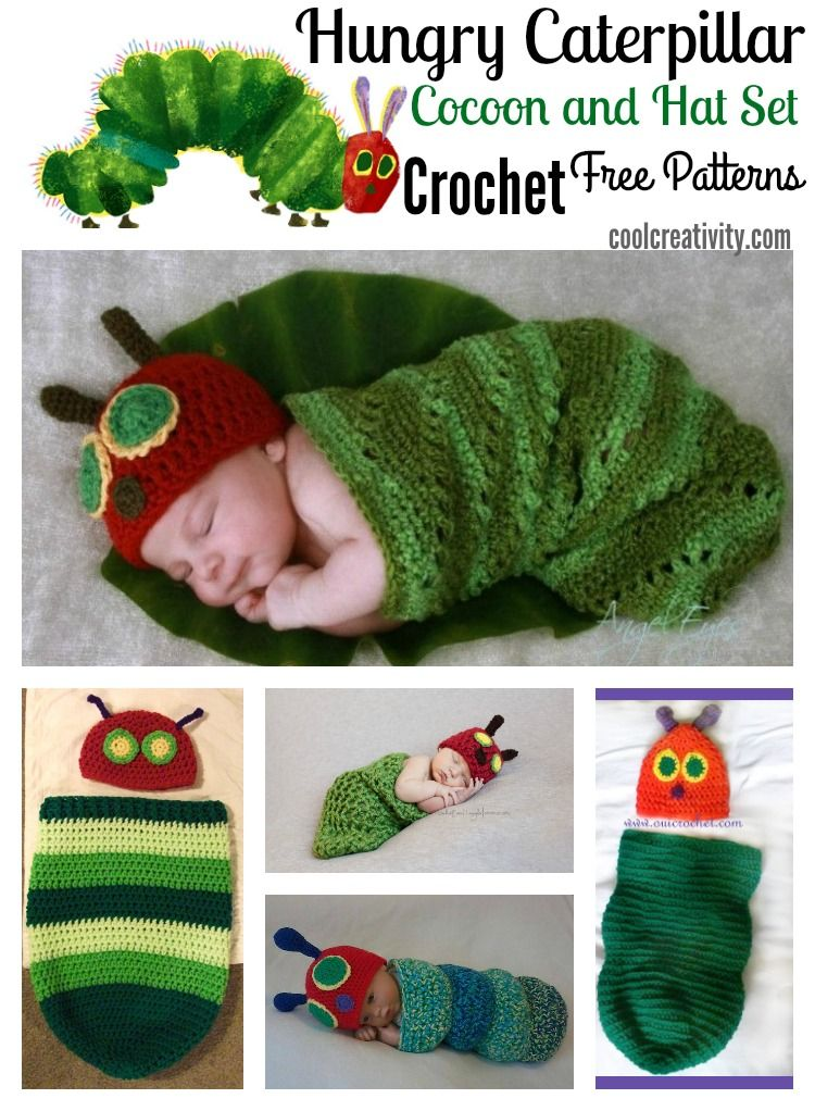 476531b3e41 Crochet Hungry Caterpillar Cocoon and Hat Set with Free Pattern ...