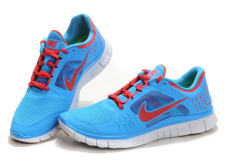 Nike Free Run 3 Mens Running Shoes Sky Blue Red