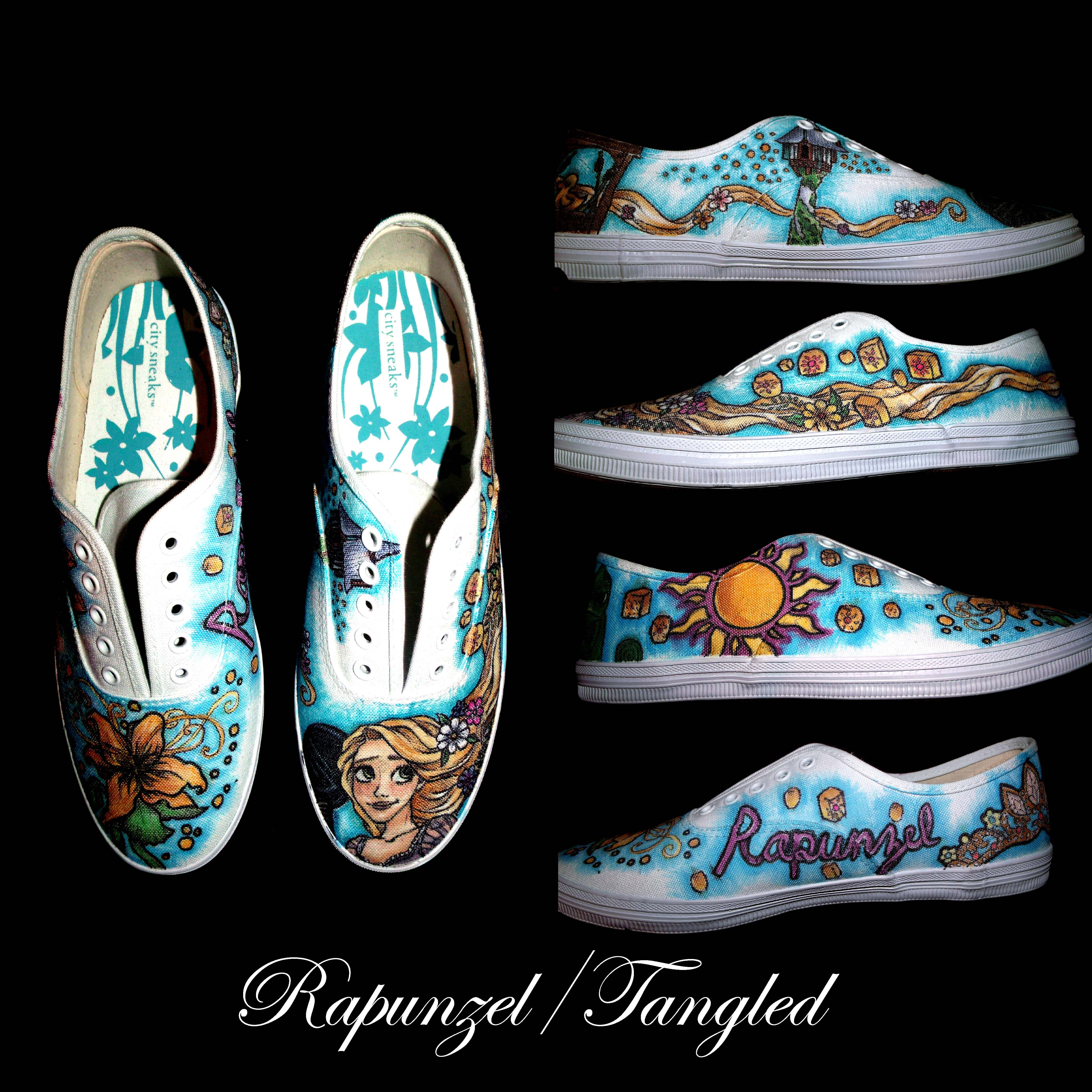 Tangled/ Rapunzel Shoes. Copic and sharpies!! One of my favorite pairs that I've done so far!