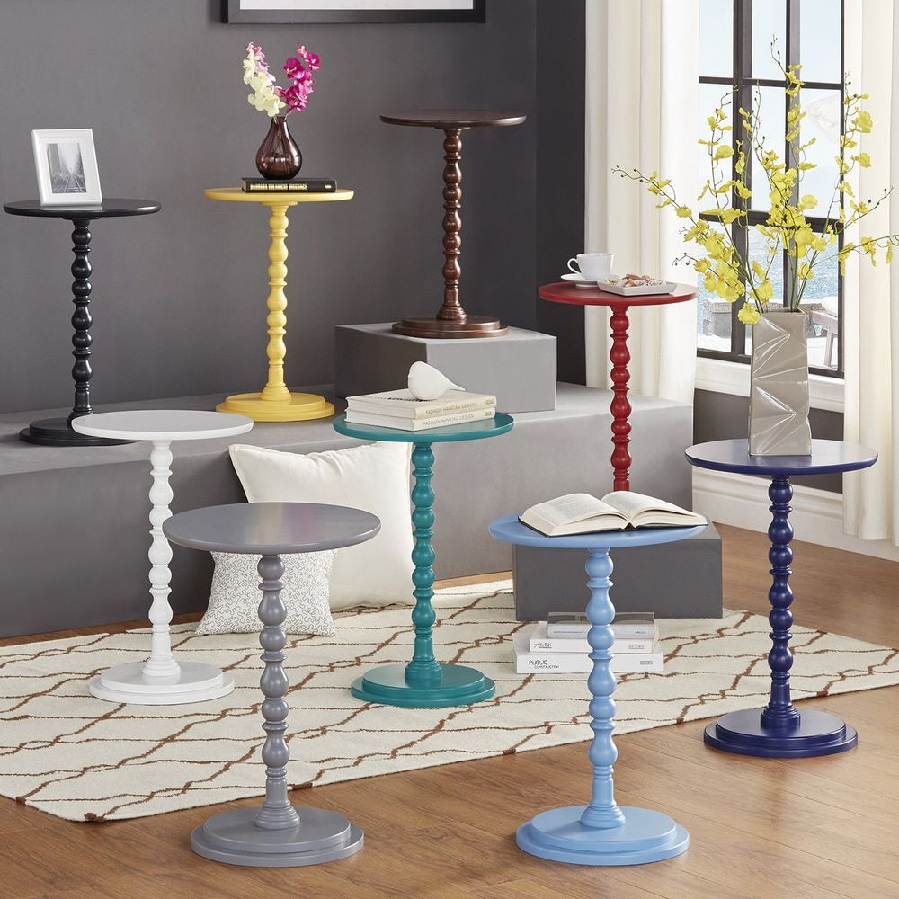 INSPIRE Q Acapella Round Accent End Table in white