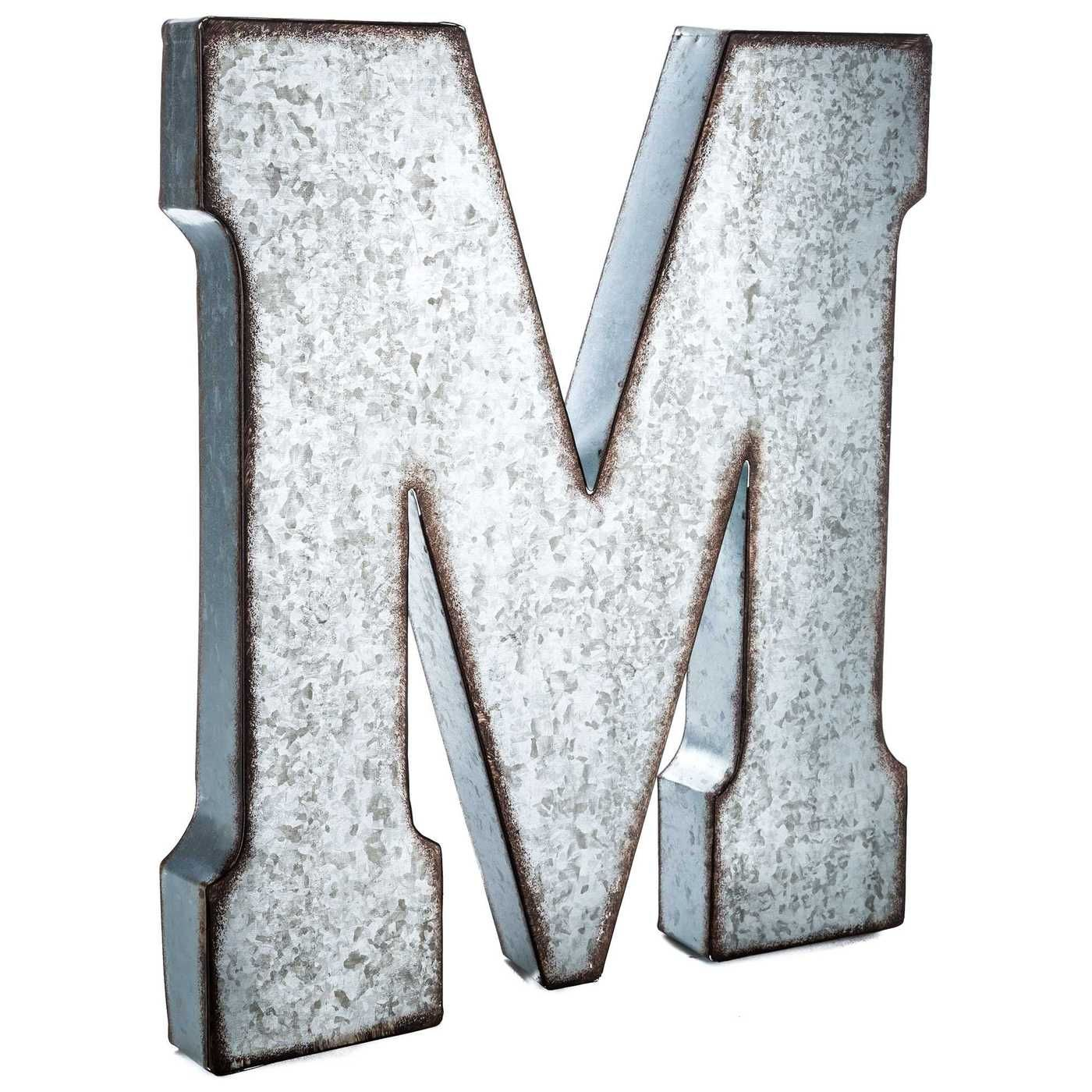 Galvanized Metal Letter Wall Decor M Metal Wall Letters Metal Letters Hobby Lobby Metal Letter Wall Decor