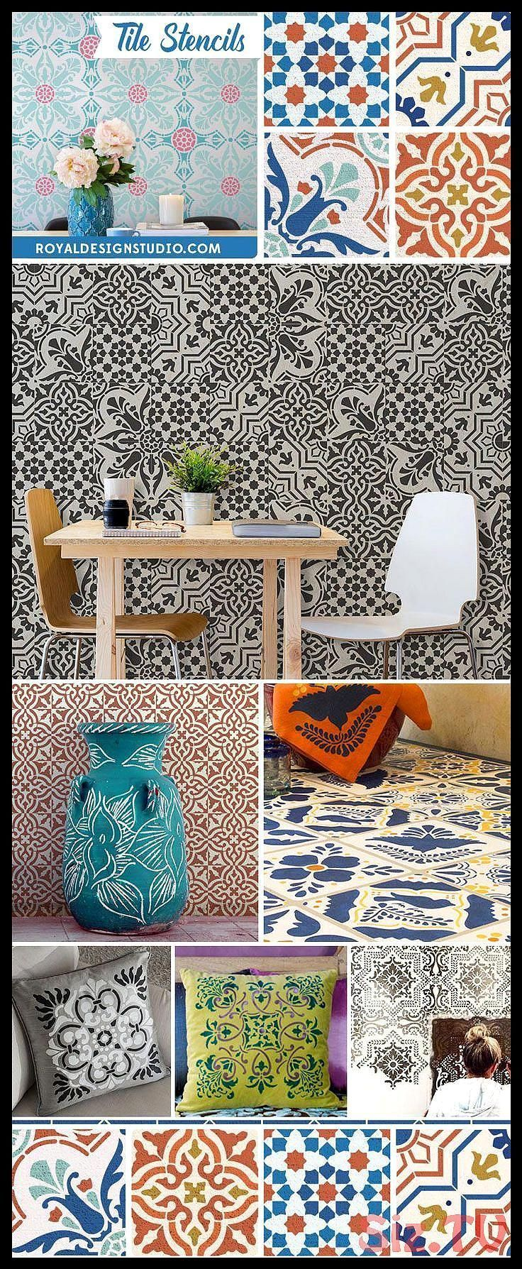 Photo of Paint floors walls and kitchen backsplash with DIY faux tile pattern Tile Stenci…