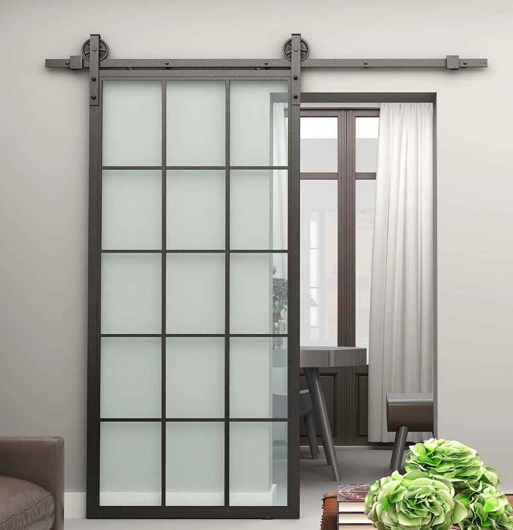 Details About 30x86 5 Inch Black Steel Framed Interior Clear Tempered Glass Sliding Door Panel Glass Barn Doors Sliding Glass Door Glass Doors Interior