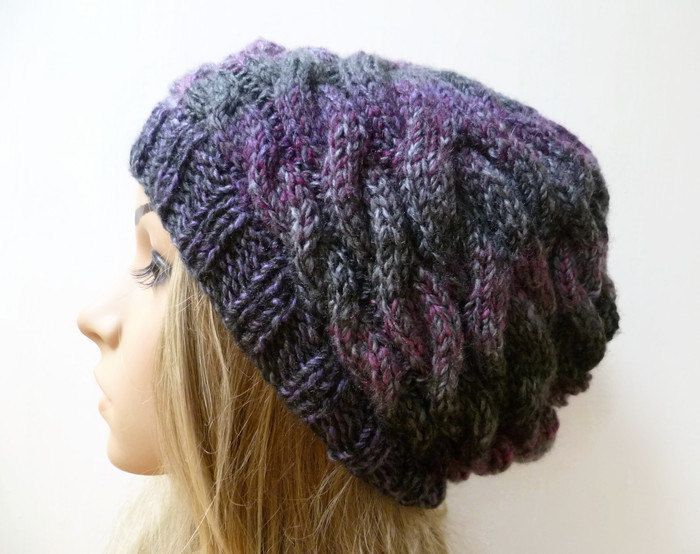 5011d74b15a Cabled Slouchy Beanie Hat - Women Hand Knitted Hat - Braided Knit Slouch  Beanie - Purple Black Grey Aran Slouchy Hat - Clickclackknits by  Clickclackknits on ...