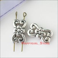 Free Shipping 100 New Silver Tone Charms2-2 Flower Spacer Beads Connectors 11x18.5mm
