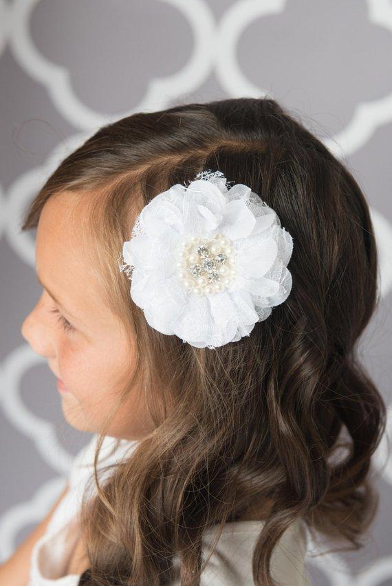 Girls Wedding Bridemaid White beige Bow Lace Hair Alligator Clip Head Barrette