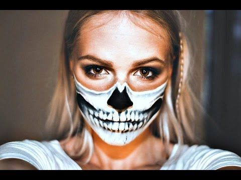 Easy halloween tutorial / Half skull mask - YouTube