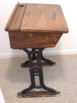 Antique School Desk Wood Vintage Early 1900 S