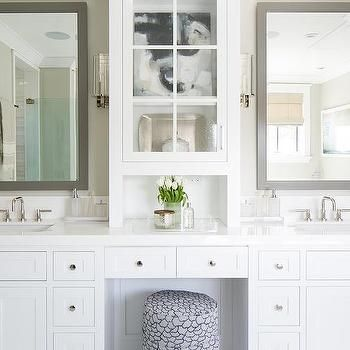White Bathroom Vanity with Gray Mirror, Transitional, Bathroom