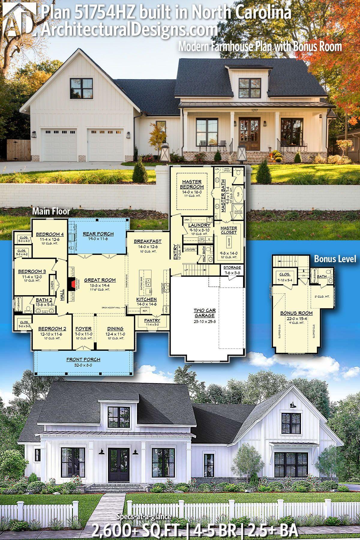 Plan 51754hz Modern Farmhouse Plan With Bonus Room Modern Farmhouse Plans Farmhouse Plans Architectural Design House Plans