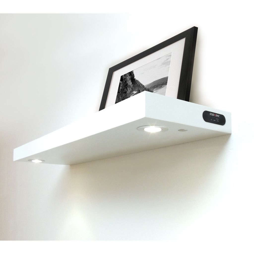 Man Room The Lighted White Floating Wall Shelf