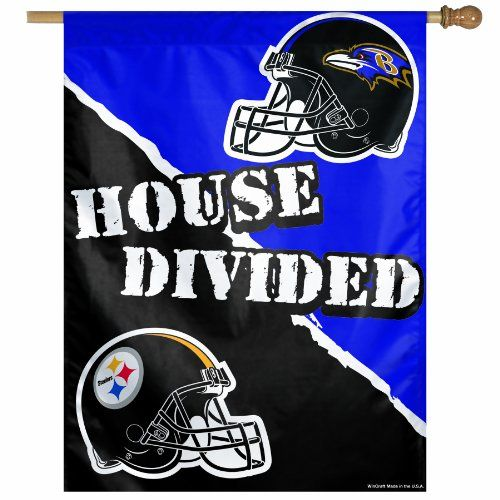 Nfl Pittsburgh Steelers Vs Baltimore Ravens 2737inch Vertical Flag House Divided For More Information Visi Steelers Flag Pittsburgh Steelers House Divided