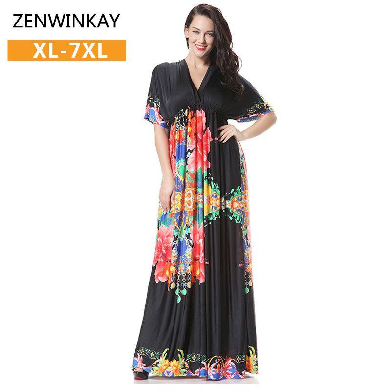 Short Sleeve V Neck Maxi Kleider Long Summer Dresses Black Floral ...