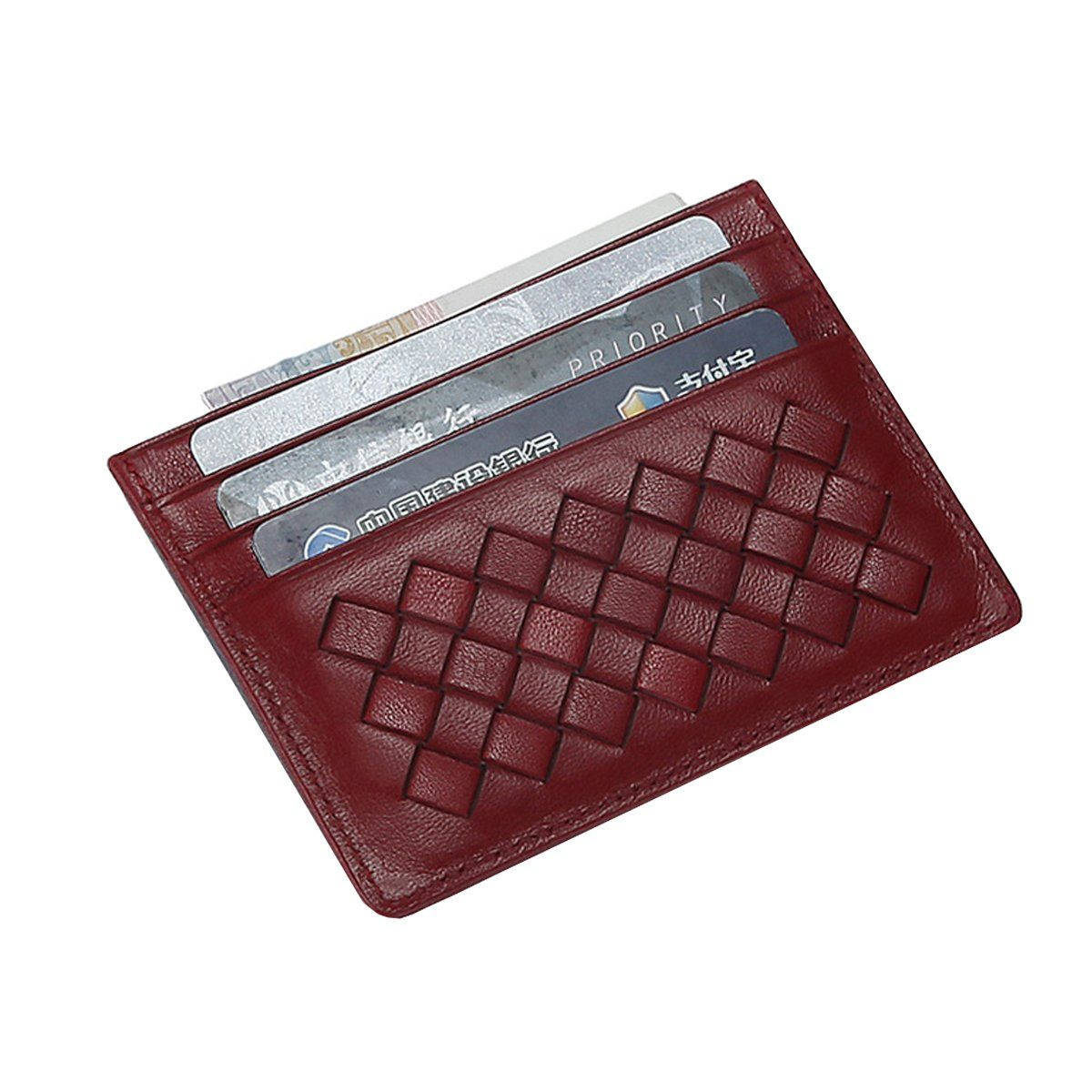 MEKU Womens Leather Card Case Wallet Weaved Credit Card Holder ...
