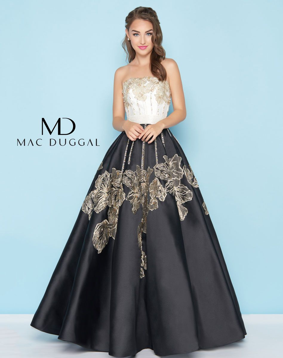 Sophisticated black and white strapless mikado ball gown. Skirt and ...