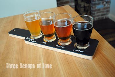 use chalkboard paint to label your beer flight paddle from my blog