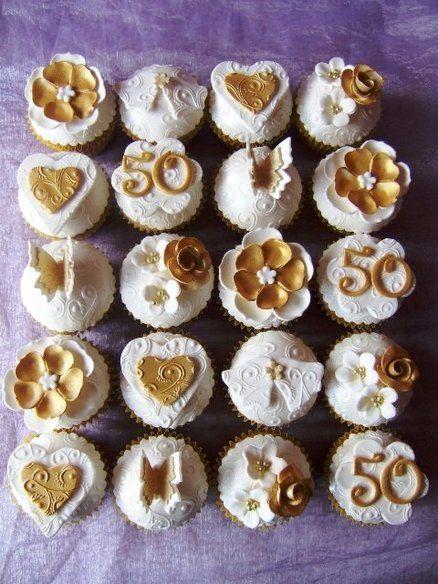 Golden Wedding Cupcakes  Cake by homemadecakesbysue
