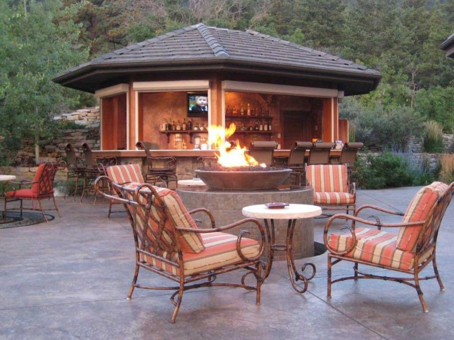 exterior astounding outdoor fire pit design ideas feat wrought iron armchairs mixed with wonderful gazebo cozy - Backyard Patio Design Plans