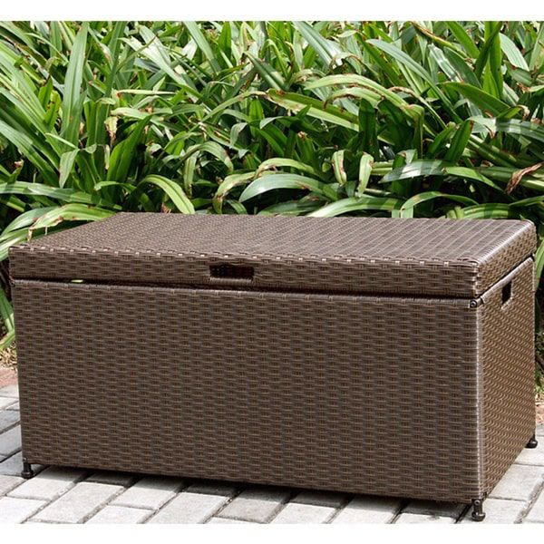 Jeco Wicker Patio Storage Deck Box (Black), Patio Furniture (Steel)