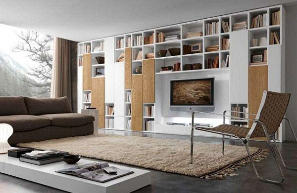 regalsysteme design wohnzimmer fernseher beiger teppich Regal - wohnzimmer weis holz