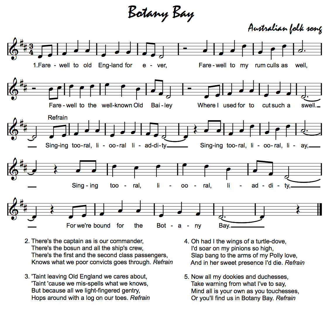 Do Re Mi Lyrics Sheet Music: Beth's Music Notes: Botany Bay - Australia