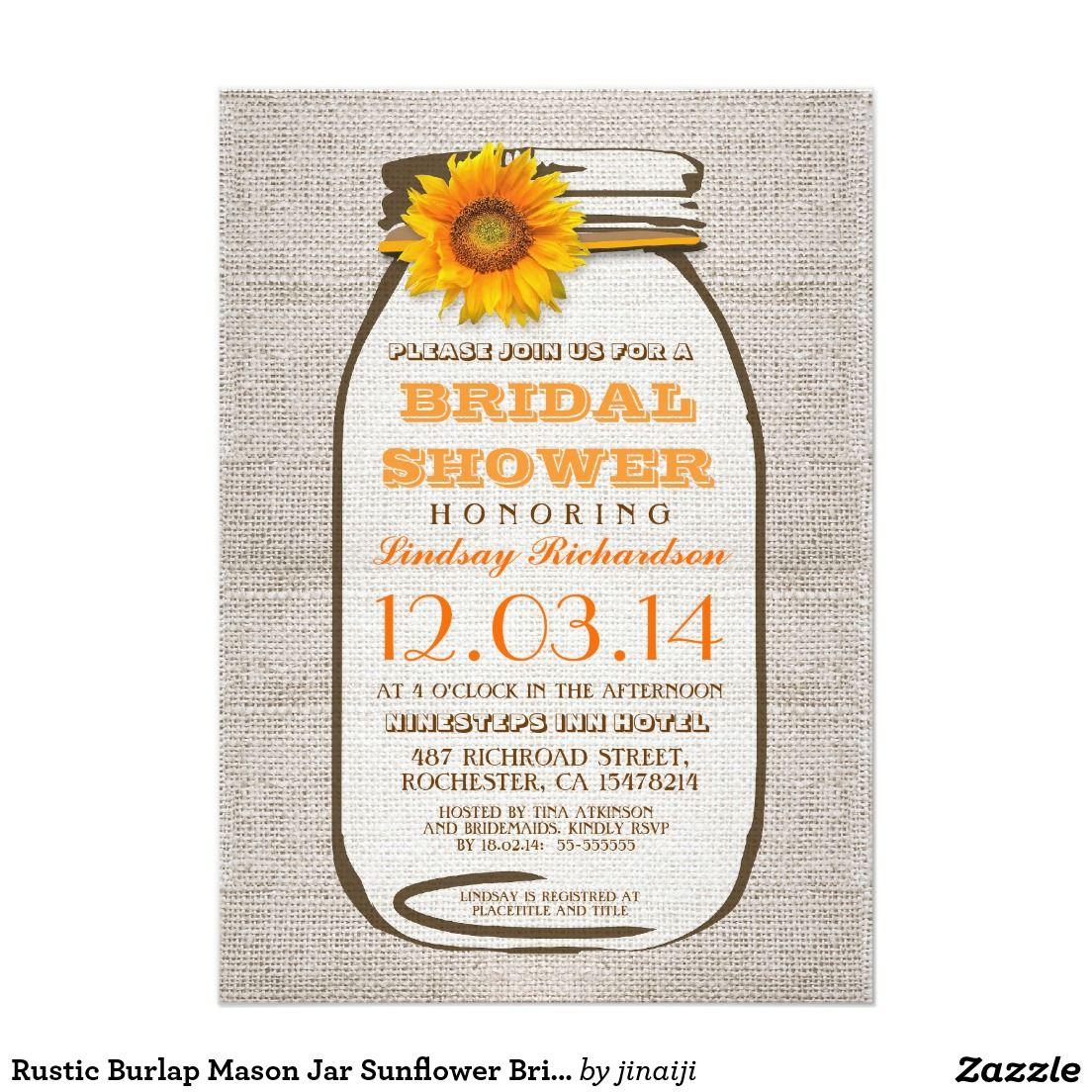 Rustic Burlap Mason Jar Sunflower Bridal Shower | WEDDING: BRIDAL ...