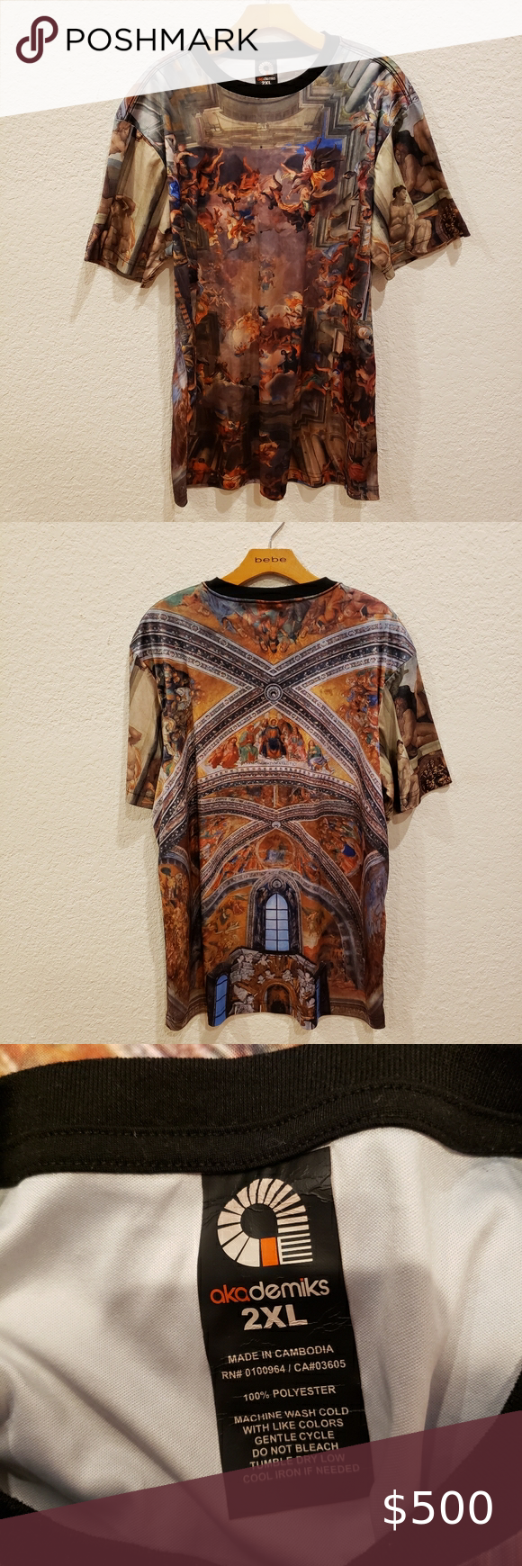 AKADEMIKS Sistine Chapel Short Sleeve T-Shirt 2XL Sistine Chapel Michelangelo Print Tee  RARE!! No longer in production. Novelty 100% polyester Short Sleeves Machine wash Men's top  size 2XL condition: excellent/pre-owned color: grey | black | brown   designer: akademiks  smoke-free home @wickedrosevtg  [F1]  Jersey Shore keto guido bad ass pimpin' pimp & hoe naked peeps Akademiks Shirts Tees - Short Sleeve