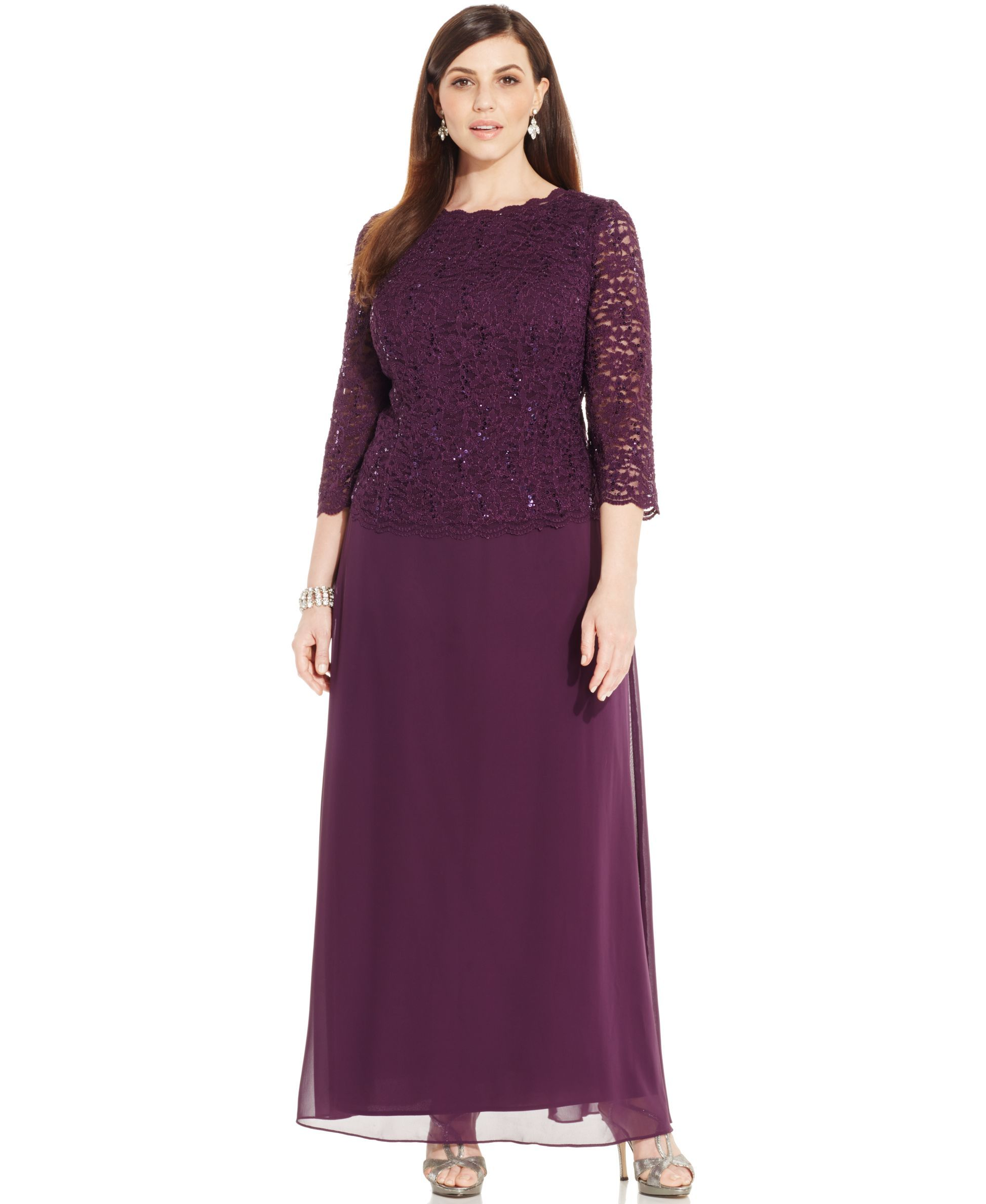 Alex evenings plus size threequartersleeve sequined lace gown