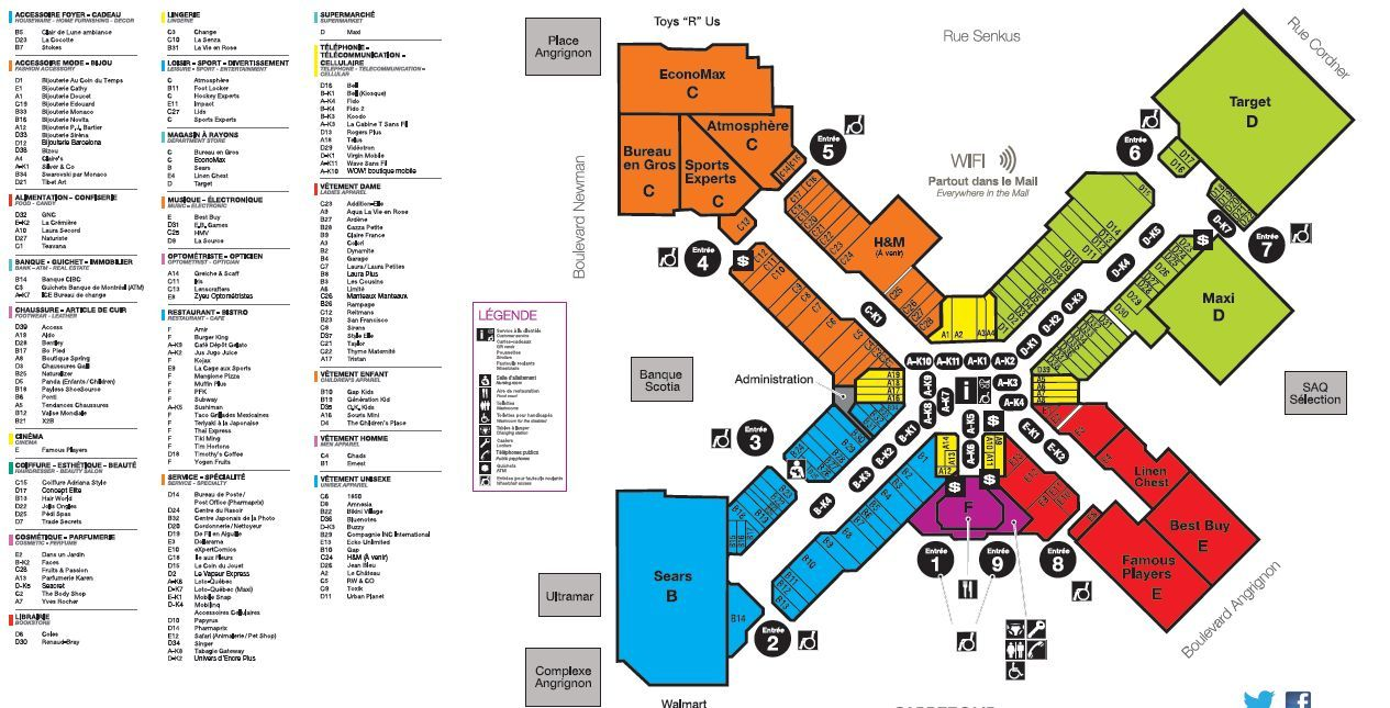 Carrefour Angrignon Lasalle Shopping Plan Mall Maps Montreal