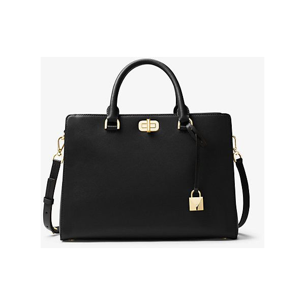 MICHAEL Michael Kors Sylvie Large Leather Satchel ($328) ❤ liked ...