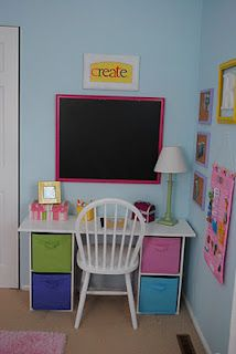 Kid S Desk Out Of 2 Storage Shelves A Piece Of Plywood We Have 2 Of These Only They Have 3 Bins Each Instead Of 2 So We May Kids Room Kids Desk Girl Room