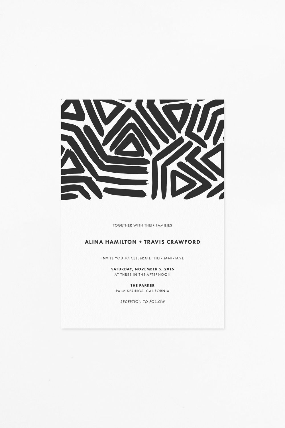 Modern, black and white printable wedding invitation with abstract ...