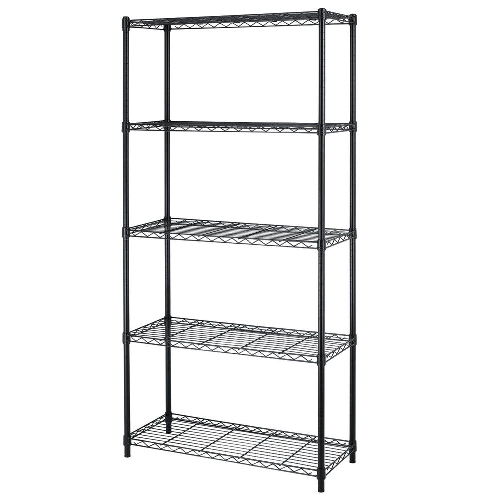 Details about Chrome/Black 5-Shelf Home Office Steel Wire
