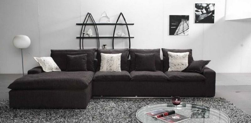 Black Fabric Sectional Sofa With Chaise Couches And Furniture